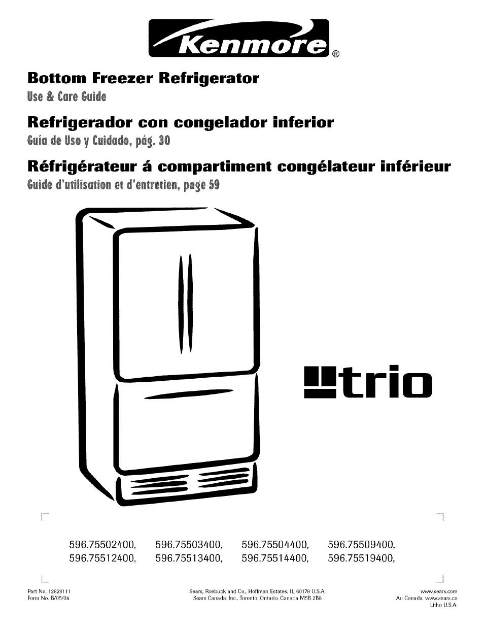 kenmore trio 596 755024 user manual 29 pages rh manualsdir com Kenmore  Refrigerator Model