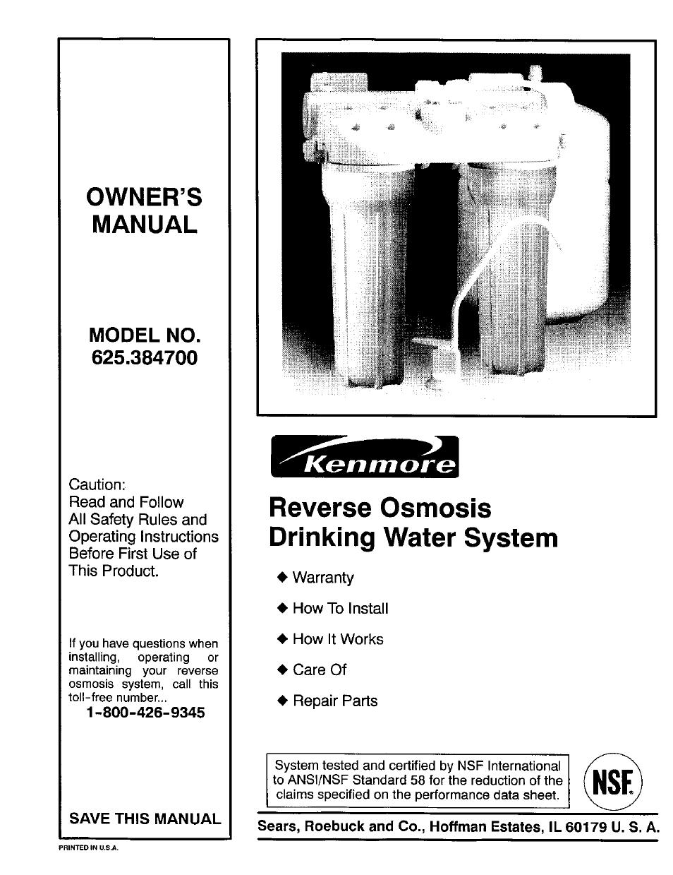 Kenmore-elite model 625385560 reverse osmosis genuine parts.
