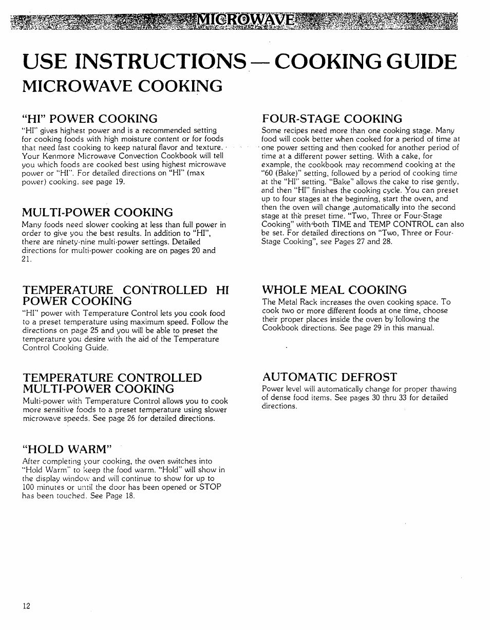 Use Instructions Hi Power Cooking Multi Power Cooking