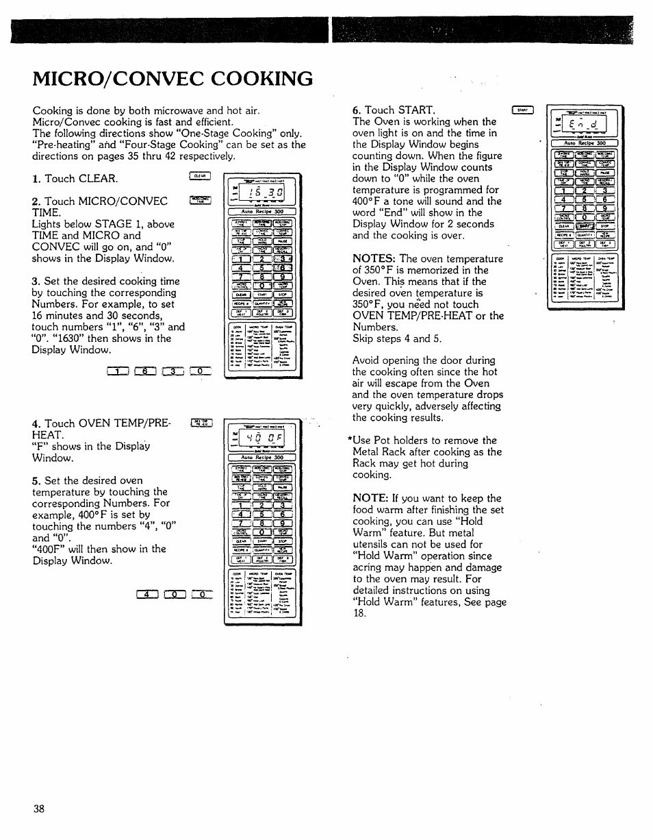 Micro/convec cooking | Kenmore Microwave Oven User Manual | Page 38 / 60