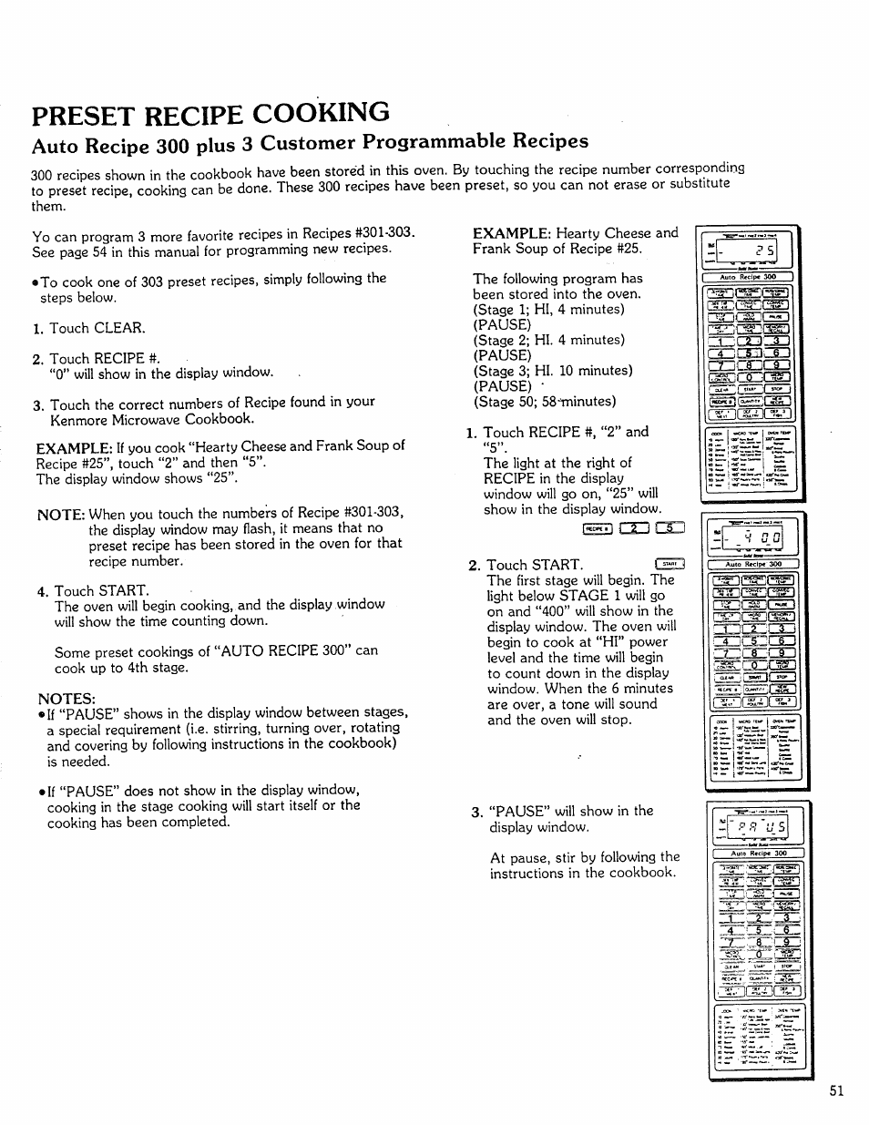 Preset recipe cooking | Kenmore Microwave Oven User Manual | Page 51 / 60