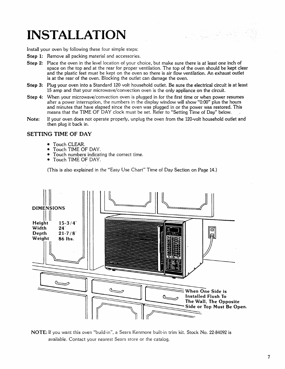 """Installation, Setting time of day, Setting """"time of day 
