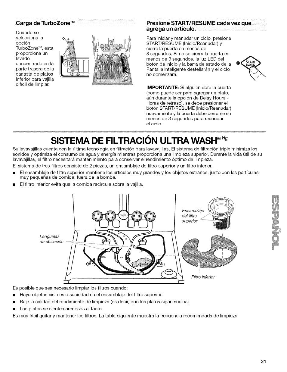 Sistema de filtración ultra wash, Carga de turbozone | Kenmore 13163 ...