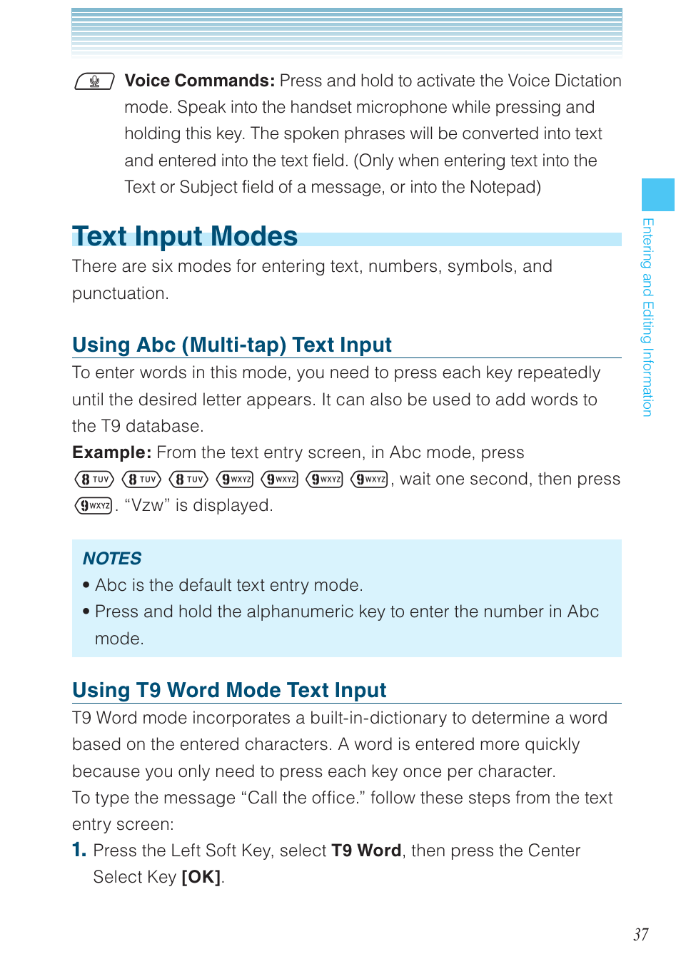 Text input modes, Using abc (multi-tap) text input, Using t9