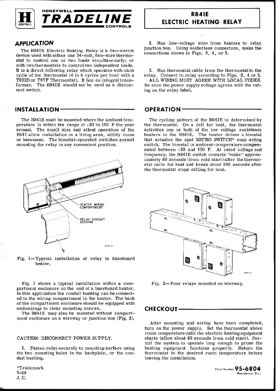 Honeywell R841e User Manual 2 Pages Baseboard Heater Wiring Code