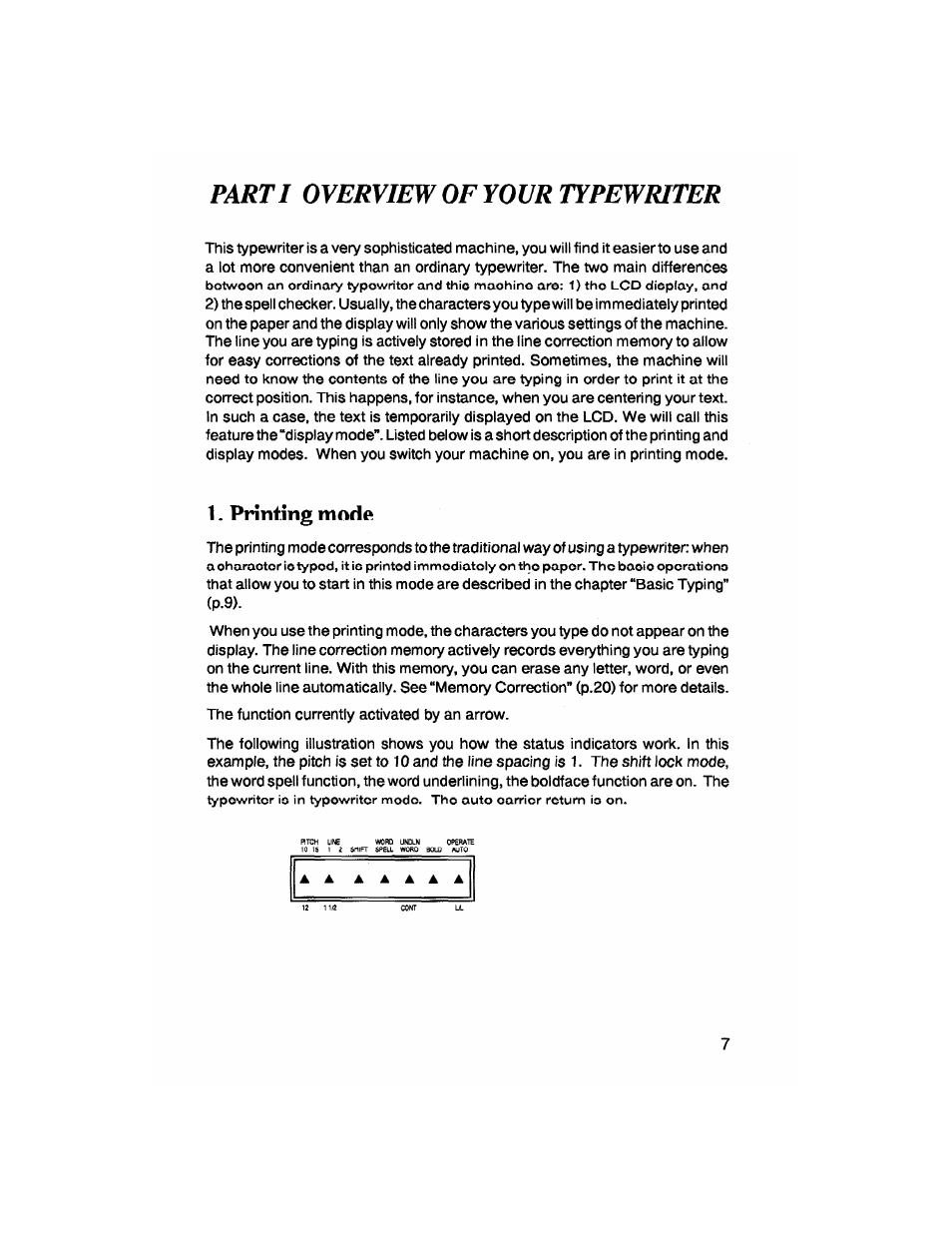 Printing Mode  Parti Overview Of Your Typewriter