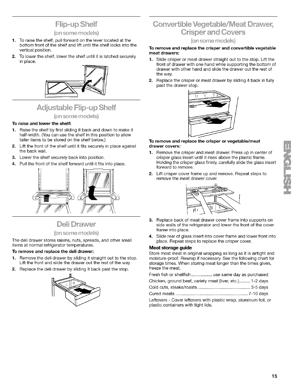 flip up shei to raise and lower the shelf meat storage guide rh manualsdir com Kenmore Coldspot Manual kenmore coldspot user manual