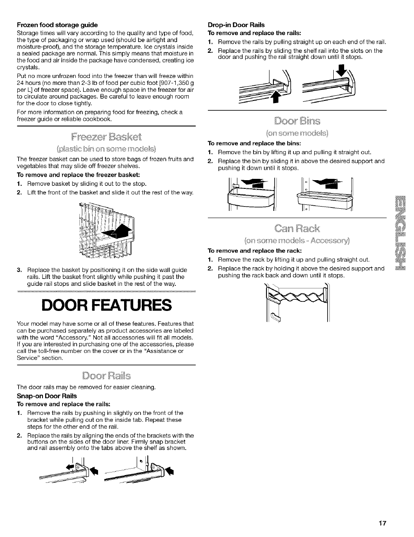 frozen food storage guide drop in door rails to remove and replace rh manualsdir com kenmore coldspot user manual Kenmore Coldspot 106 Cubic Feet