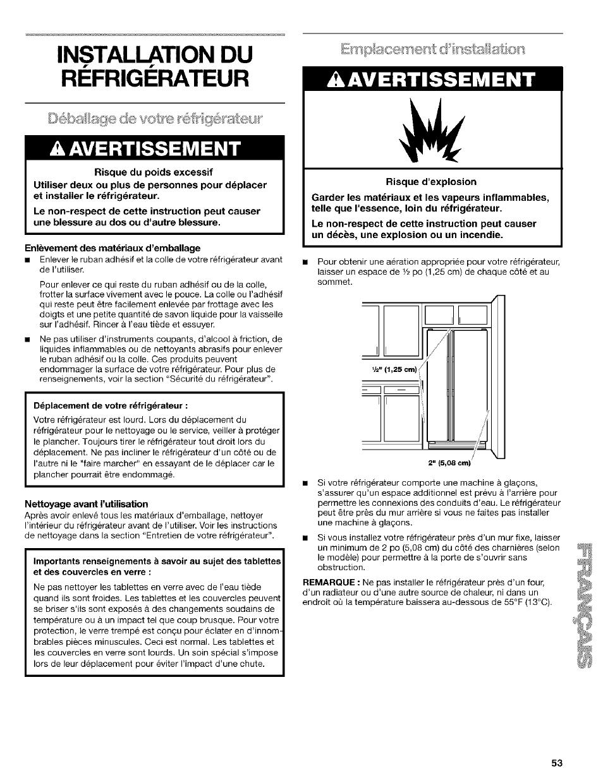 Refrigerateur, Déballage de wotre réfrigérateor, A avertissement    Enlèvement des matériaux d'emballage