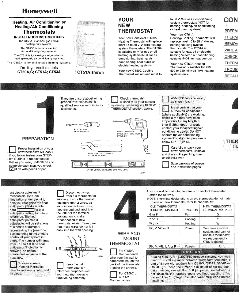 Honeywell Ct5oc User Manual 4 Pages Also For Cpfila Ct51a Wiring Thermostat 2 Wires