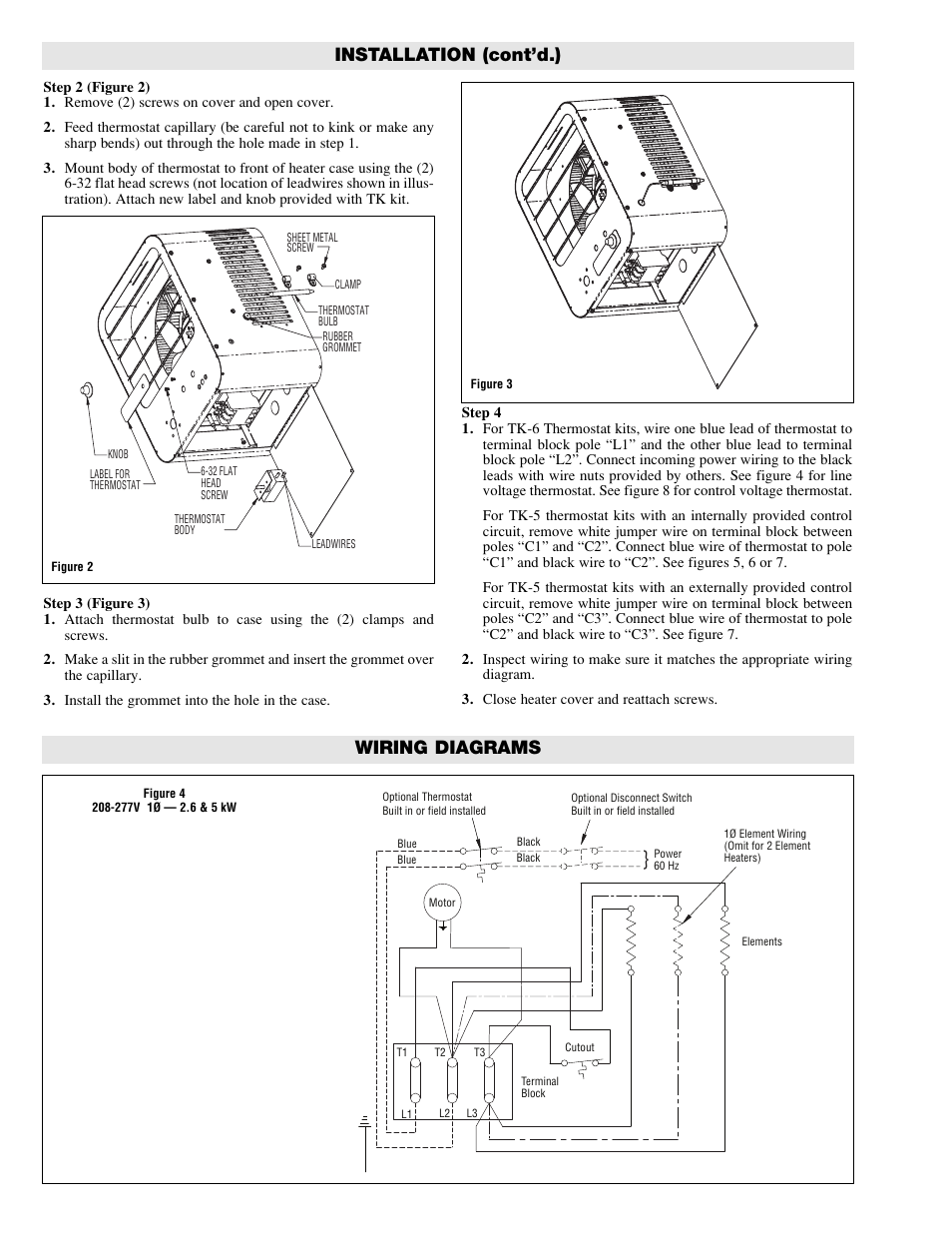 coleman furnace thermostat wiring diagram installation (cont'd.), wiring diagrams | chromalox hvh ... capillary thermostat wiring diagram #12