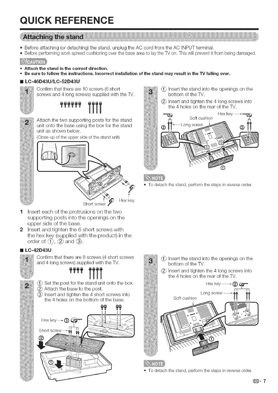 Quick reference, Attaching: ïheïstàrid, Îiîî | Sharp Aquos LC 42D43U User  Manual |