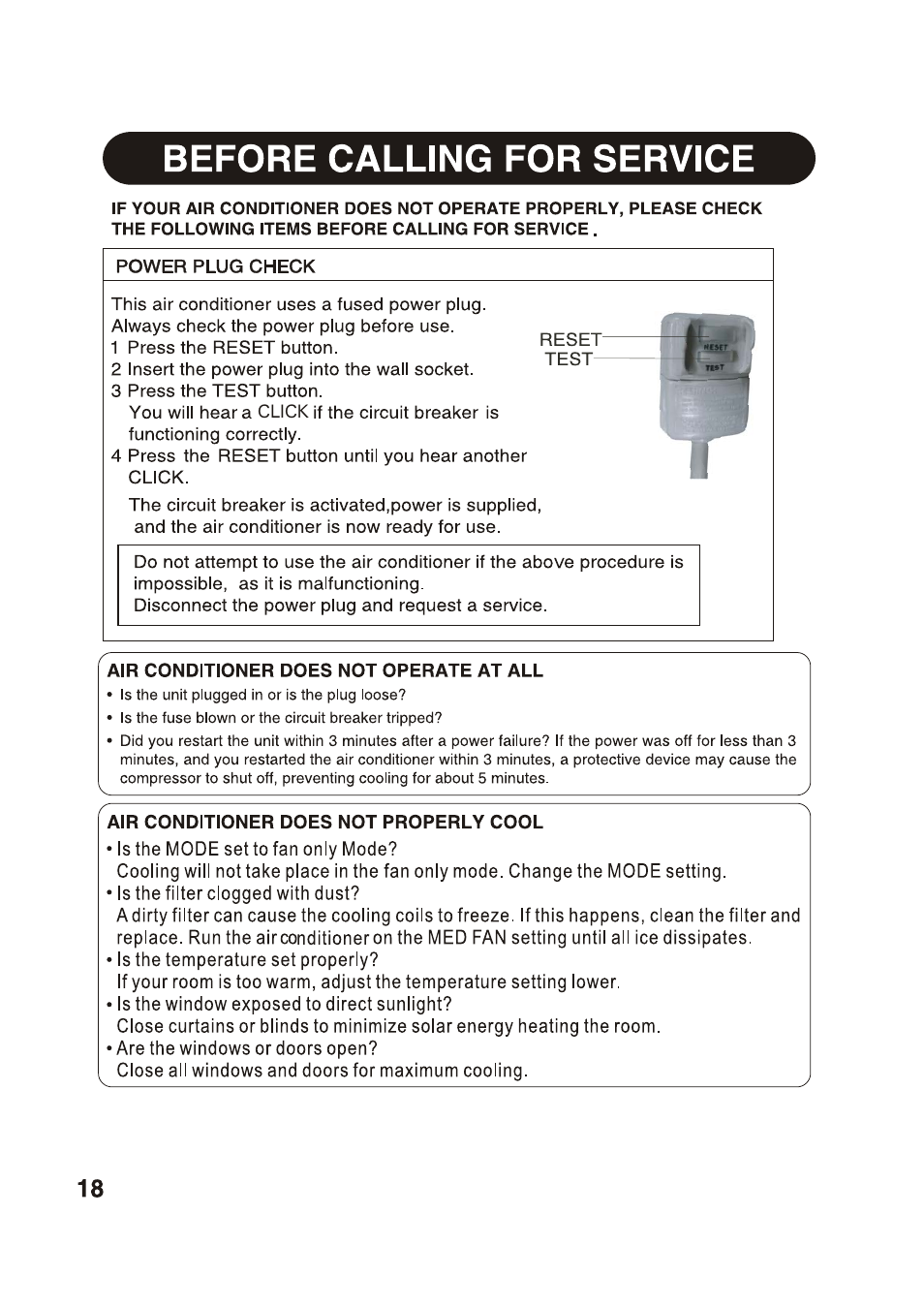 Before calling for service | Sharp AF-S85NX User Manual