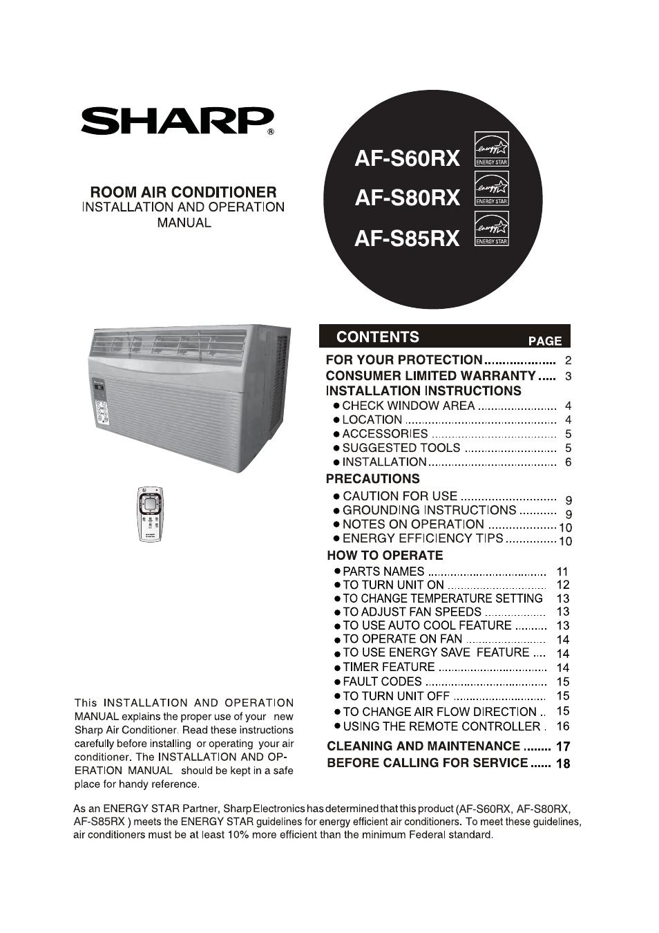 Sharp Af S80rx User Manual 20 Pages Also For Af S85rx Af S60rx