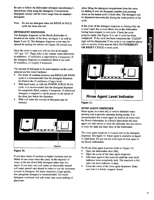 Rinse agent level indicator | Bosch SHU 4300 User Manual