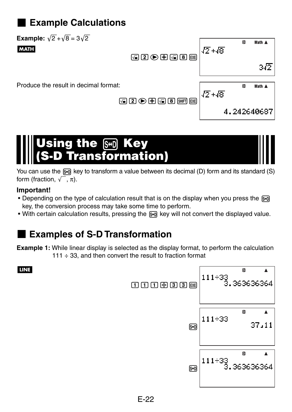 Using The F Key S D Transformation Example Calculations Examples