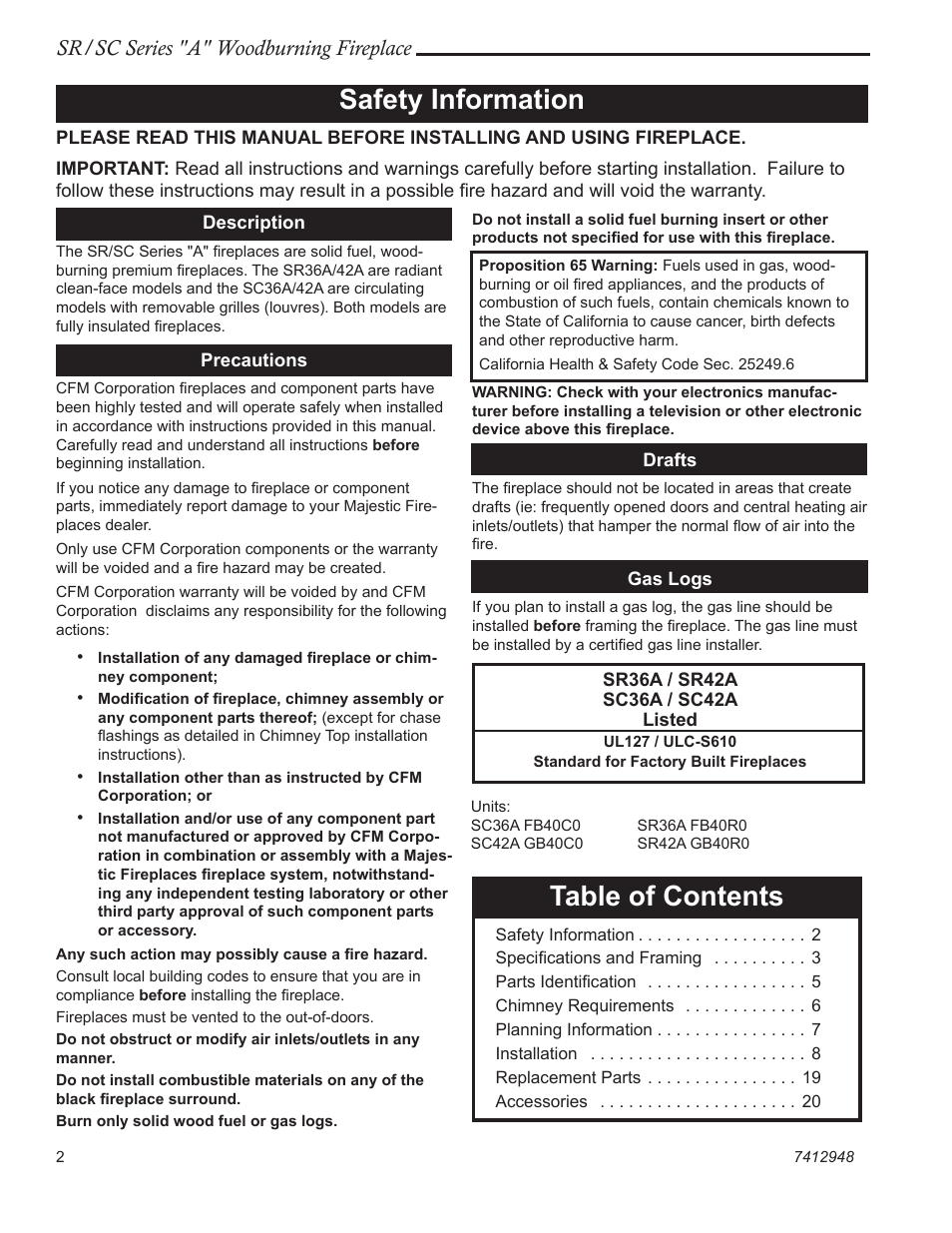 Vermont Casting SR42A User Manual | Page 2 / 24 | Also for: SC36A