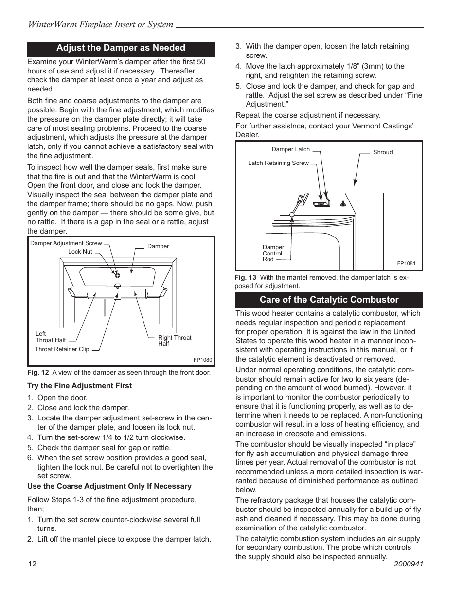 Vermont Casting Winterwarm Fireplace Insert Or System User Manual Page 12 44