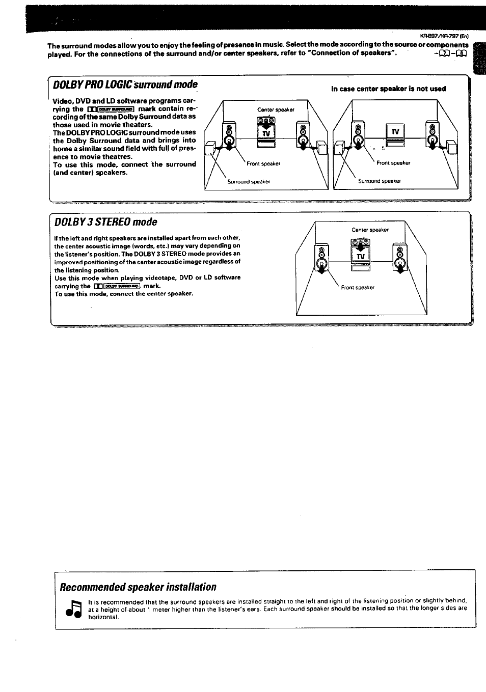 Doiypro Logic Surround Mode Dolby3 Stereo Recommended Kenwood Wiring Diagram For Sound Speaker Installation Kr 897 User Manual Page 23 32