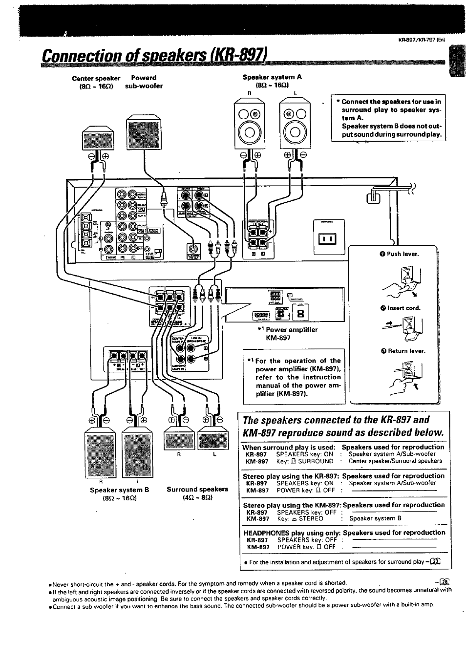 Connection of speakers (kr-897) | Kenwood KR-897 User Manual | Page 7 / 32