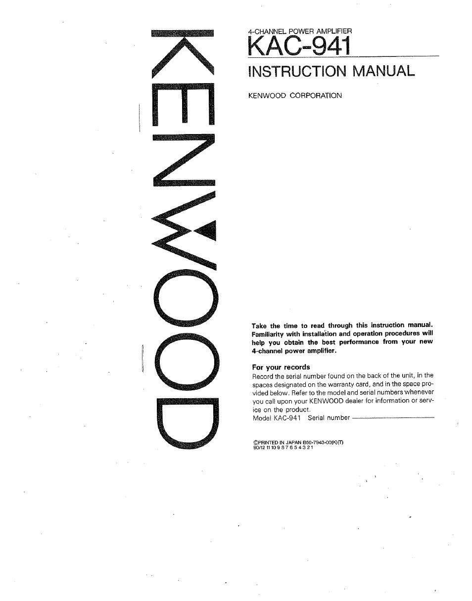 Kenwood kac 941 user manual 6 pages sciox Gallery