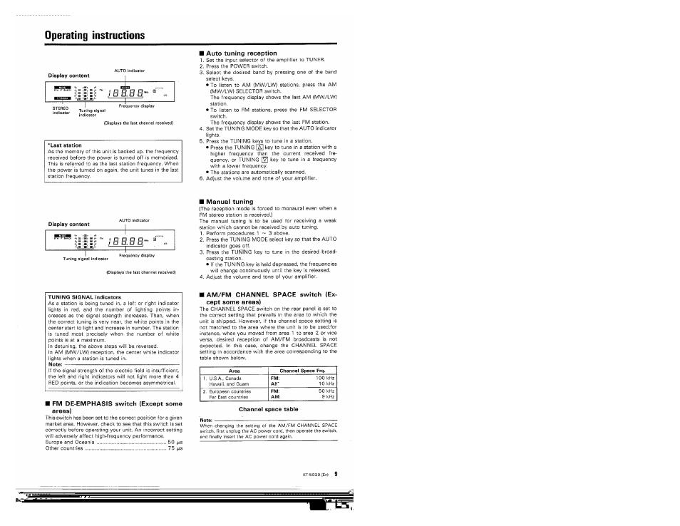 Operating Instructions Auto Tuning Reception Manual Tuning