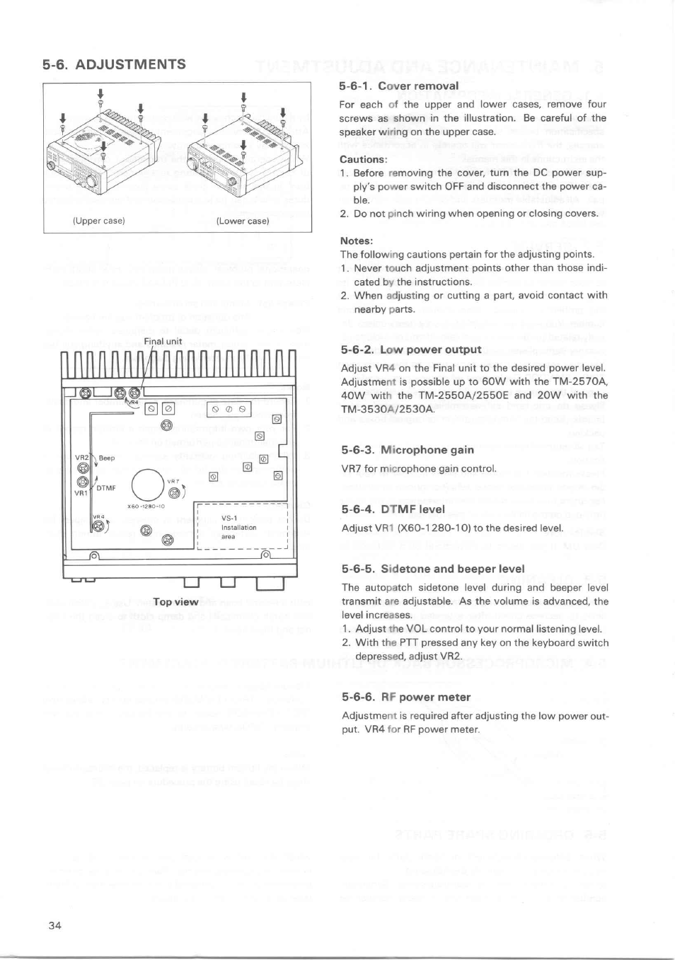 6. adjustments, 6-2. low power output, 6-3. microphone gain | Kenwood TM-3530A  User Manual | Page 34 / 47