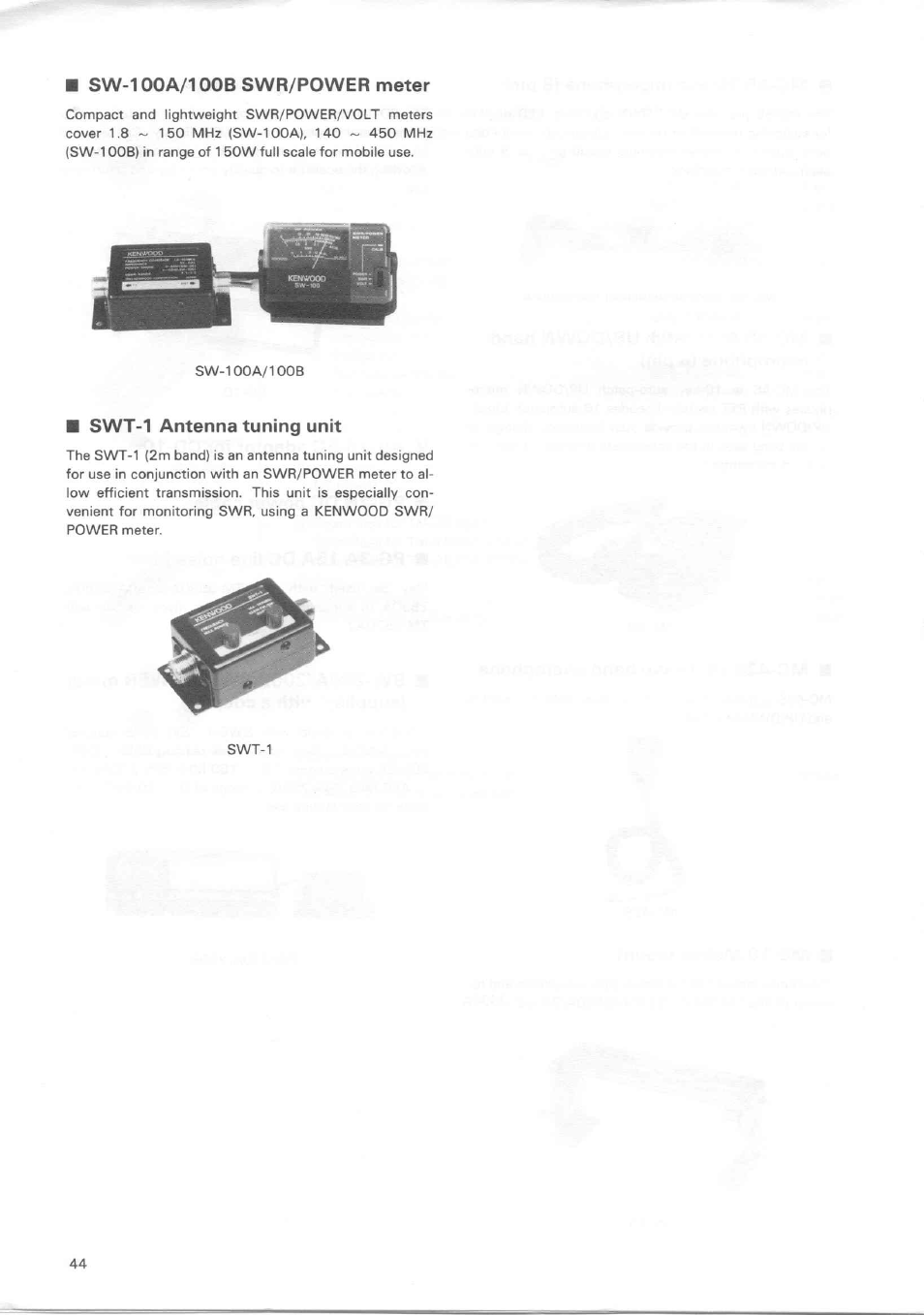Sw-100a/100bswr/power meter, Swt-1 antenna tuning unit | Kenwood TM-3530A  User Manual | Page 44 / 47
