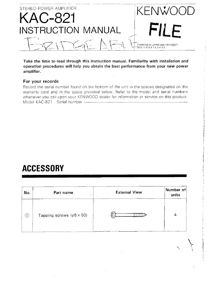 kenwood kac 821 user manual 6 pages rh manualsdir com Kenwood KAC 7005Ps Kenwood Amp Kac Gain