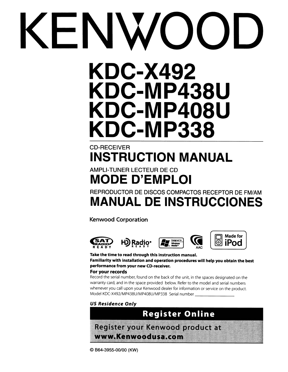 Kenwood KDC-MP408U User Manual | 32 pages | Also for: KDC-MP338, KDC-MP438U
