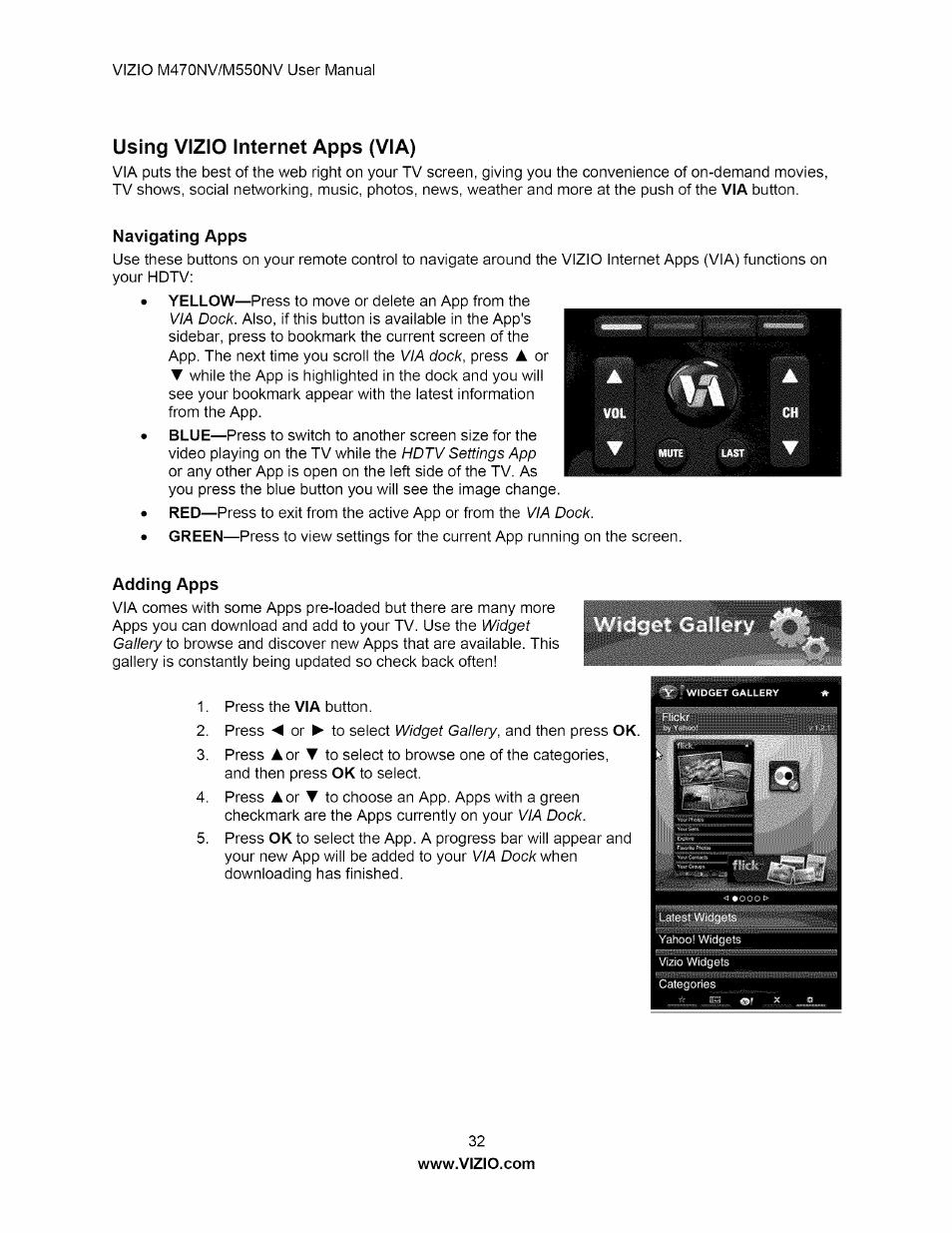 using vizio internet apps via navigating apps adding apps rh manualsdir com Vizio M470NV Button Location Vizio M470NV Remote for TV