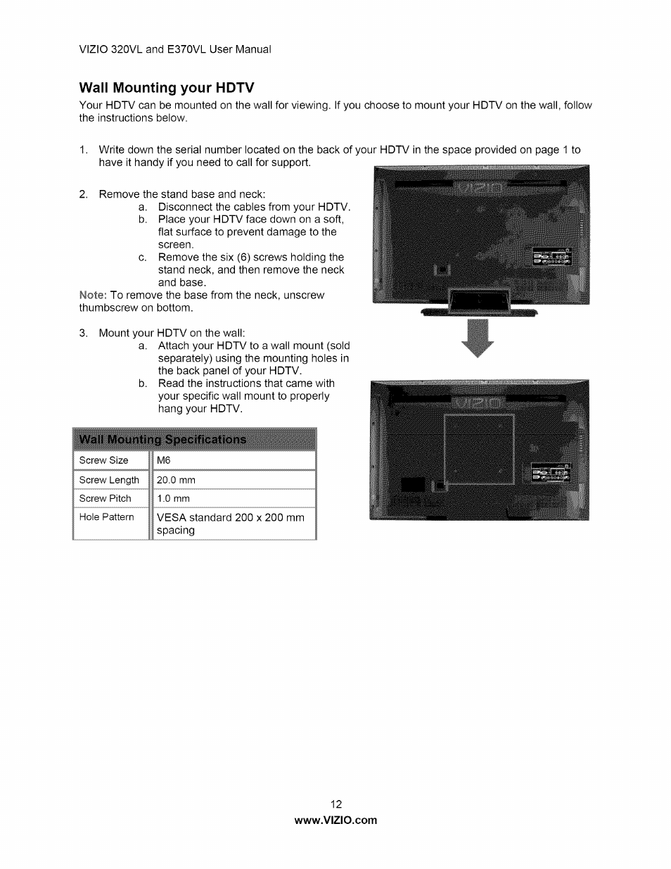Wall mounting your hdtv | Vizio E320VL User Manual | Page 12 / 54