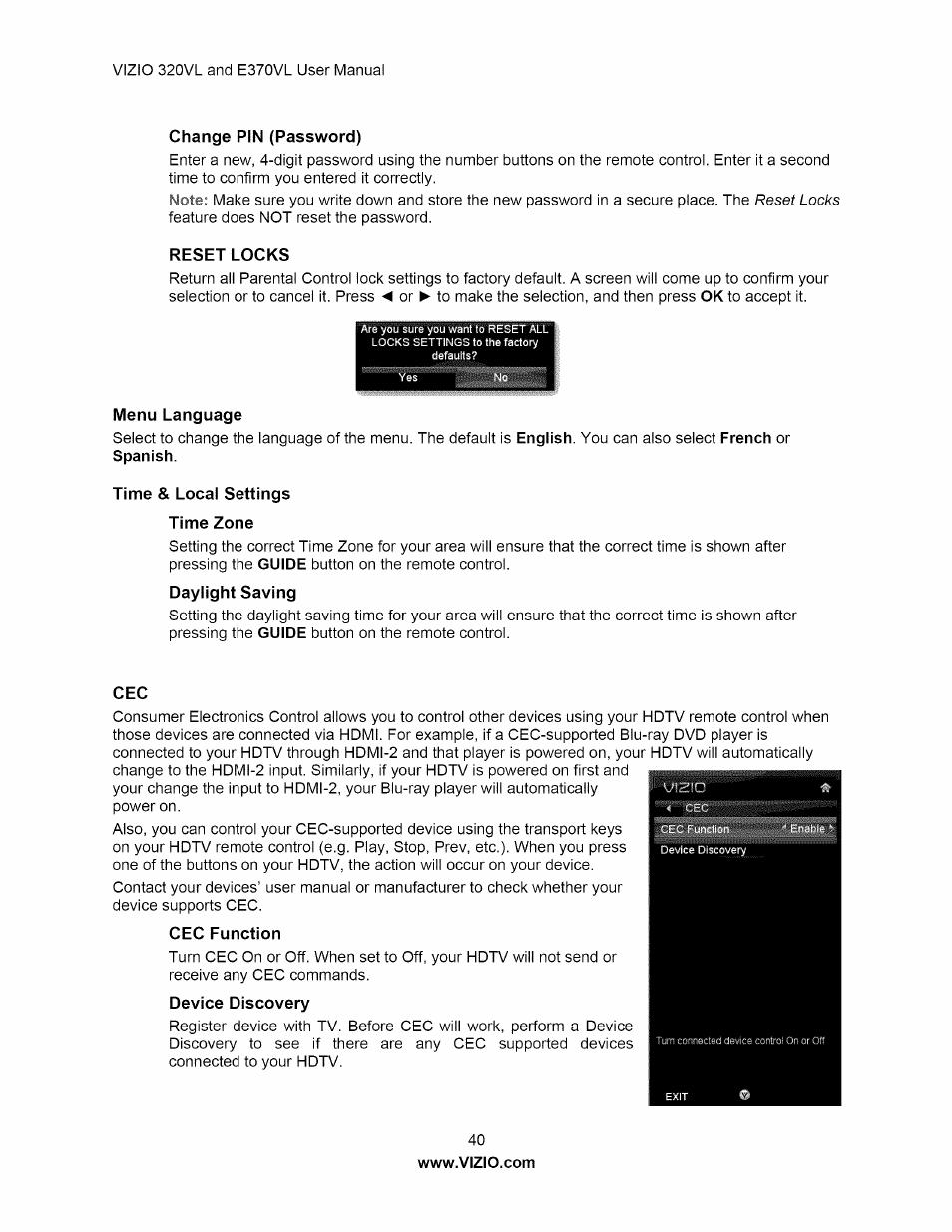 Change pin (password), Reset locks, Menu language | Vizio