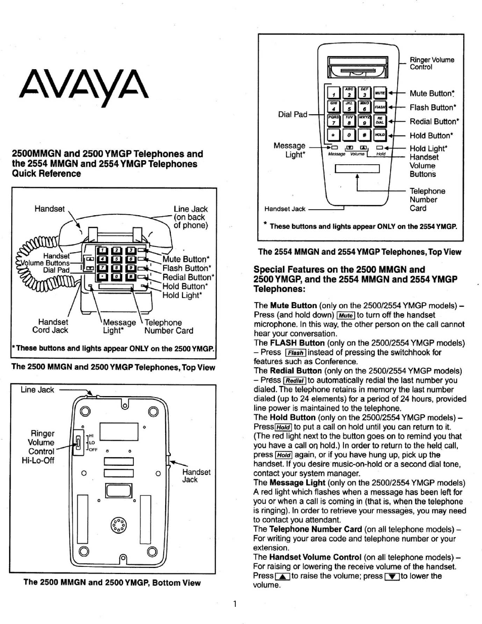 Avaya Lucent 2500 Ymgp User Manual 4 Pages Also For Lucent 2554