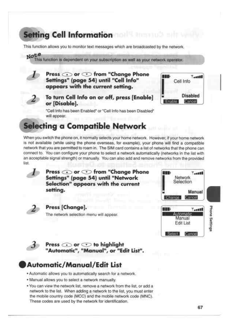 Setting cell information, Selecting a compatible network, Automahc