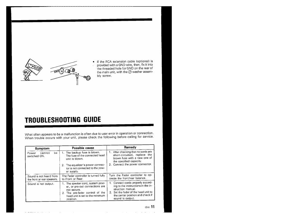 Troubleshooting guide | Kenwood KGC-4032 User Manual | Page