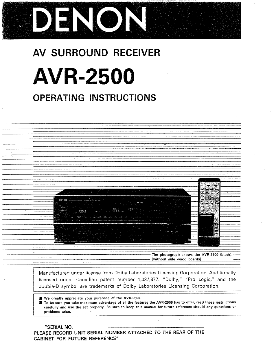 denon avr 2500 user manual 24 pages rh manualsdir com denon avr 2500 manual free denon avr 2500 manual free