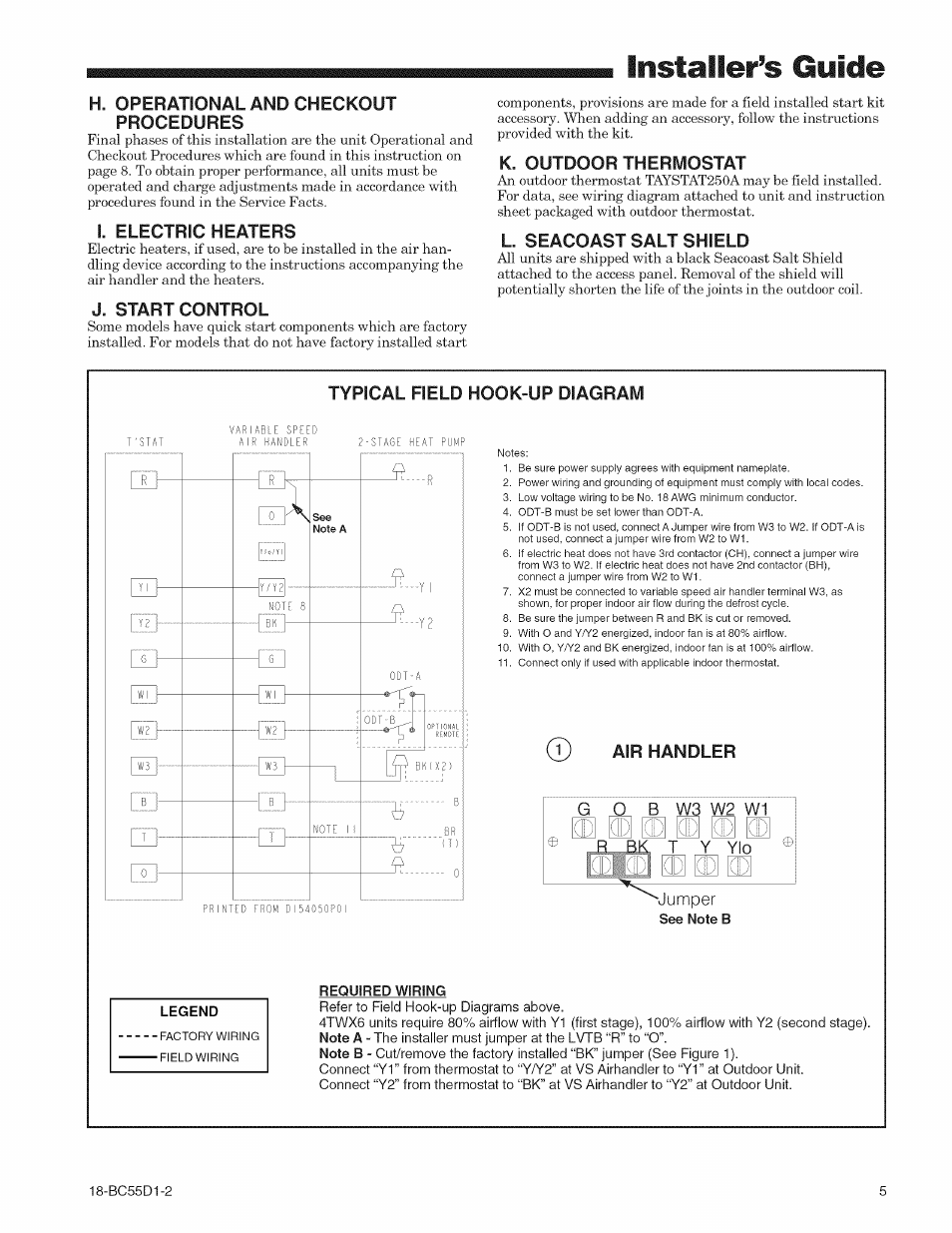 I. electric heaters, J. start control, K. outdoor thermostat | Trane  18-BC55D1-2 User Manual | Page 5 / 8