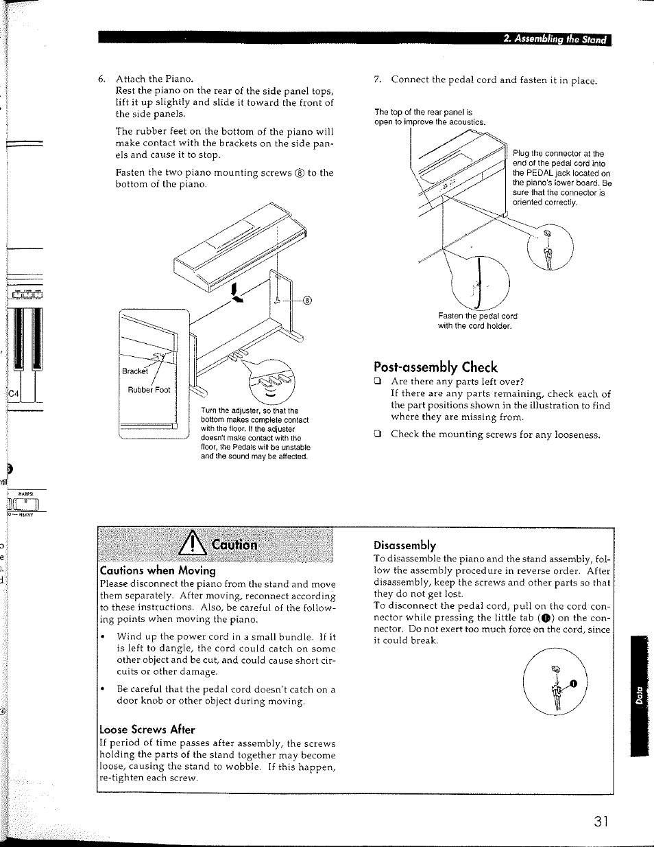 Post Assembly Check Caution Korg Concert Digital Piano C 150 Parts Diagram User