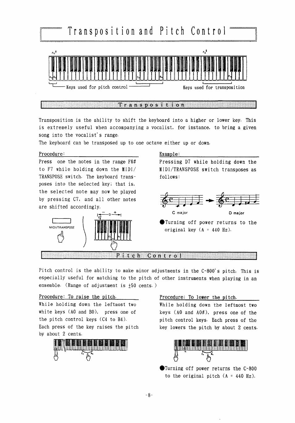 Transposition and pitch control, Pliillliil   KORG Concert