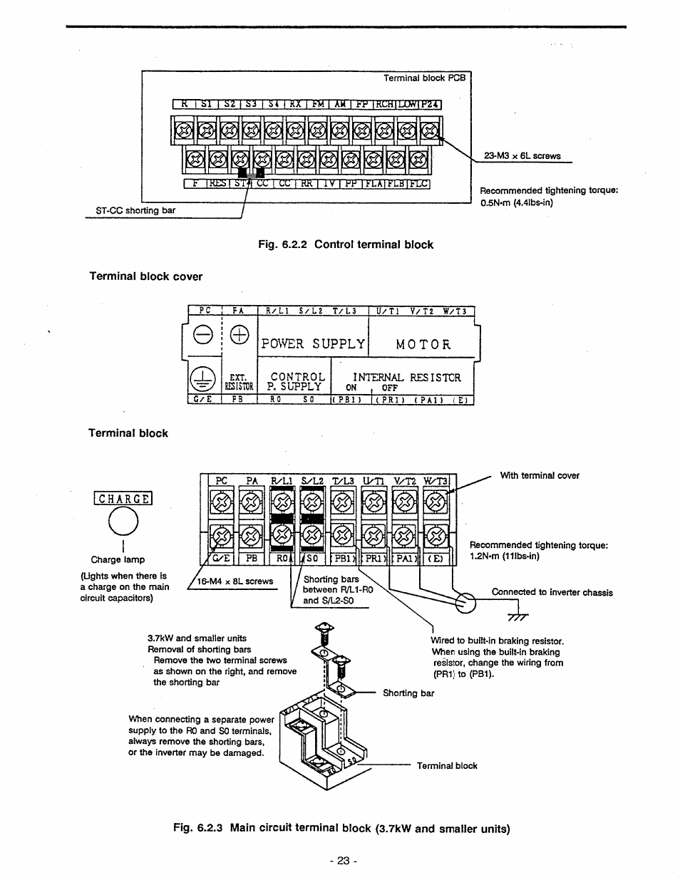 Terminal Block Cover Charge Toshiba Tosvert Vf A5 V F Control Diagram User Manual Page 29 149