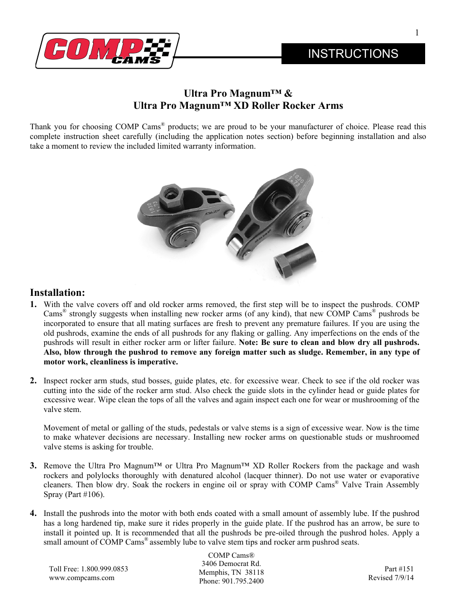 Comp Cams Ultra Pro Magnum Xd Roller Rocker Arms User Manual 5 Pages Also For Ultra Pro Magnum