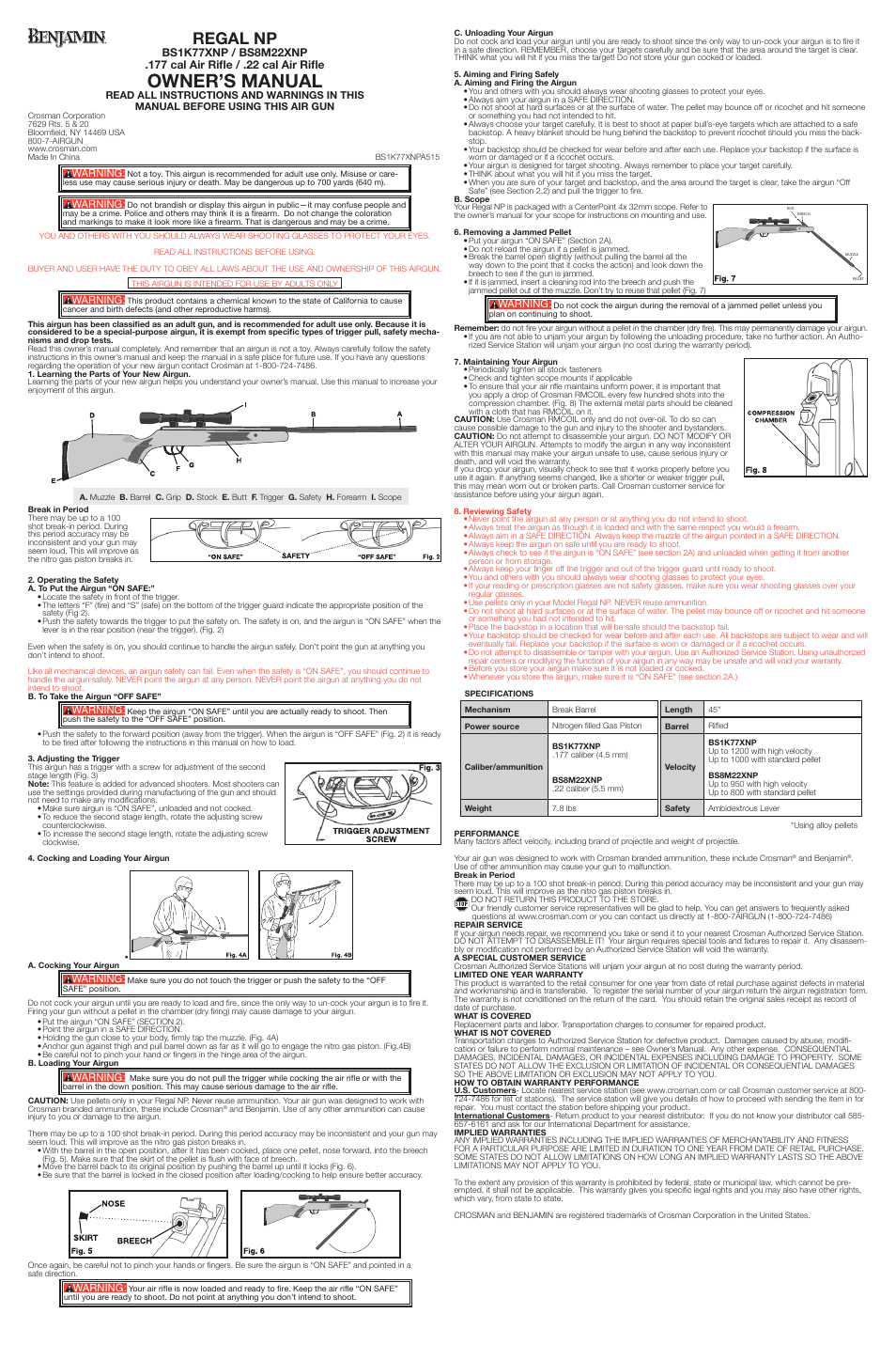 Crosman BS8M22XNP User Manual | 2 pages | Also for: BS1K77XNP