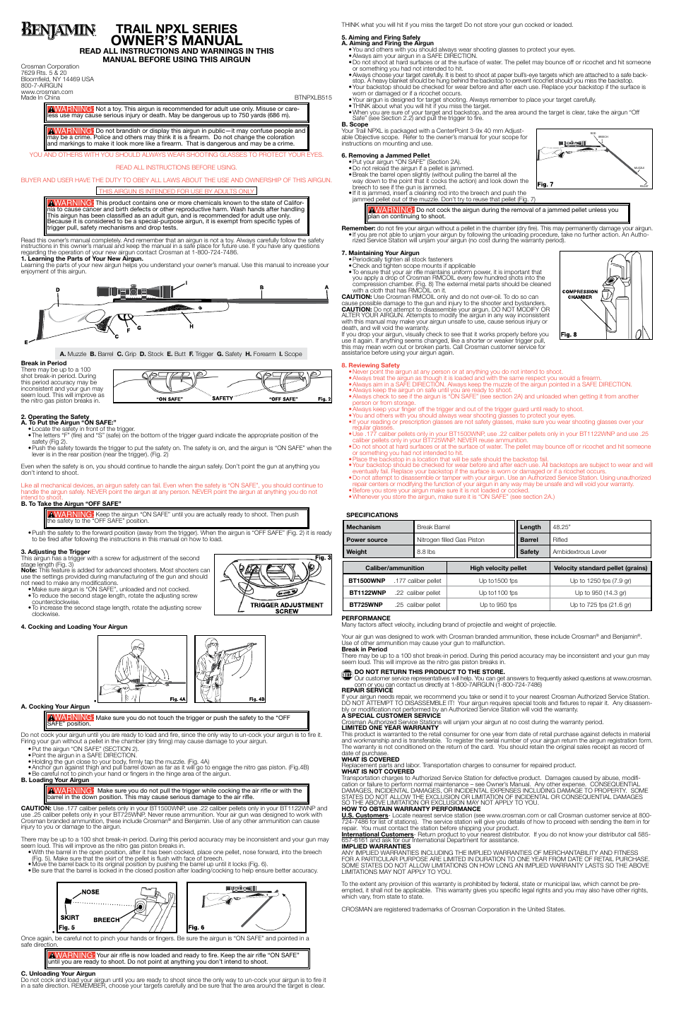 Crosman BT725WNP User Manual | 2 pages | Also for: BT1500WNP