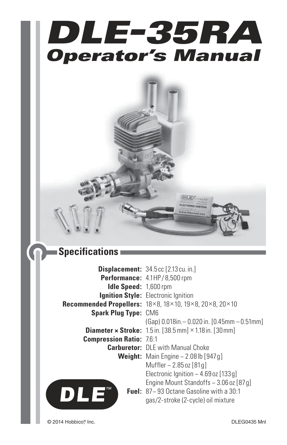 93 Octane Gas >> DLE 35RA User Manual | 24 pages