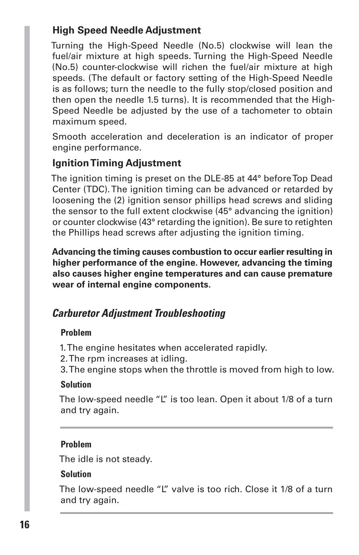 Carburetor adjustment troubleshooting   DLE 85 User Manual   Page 16