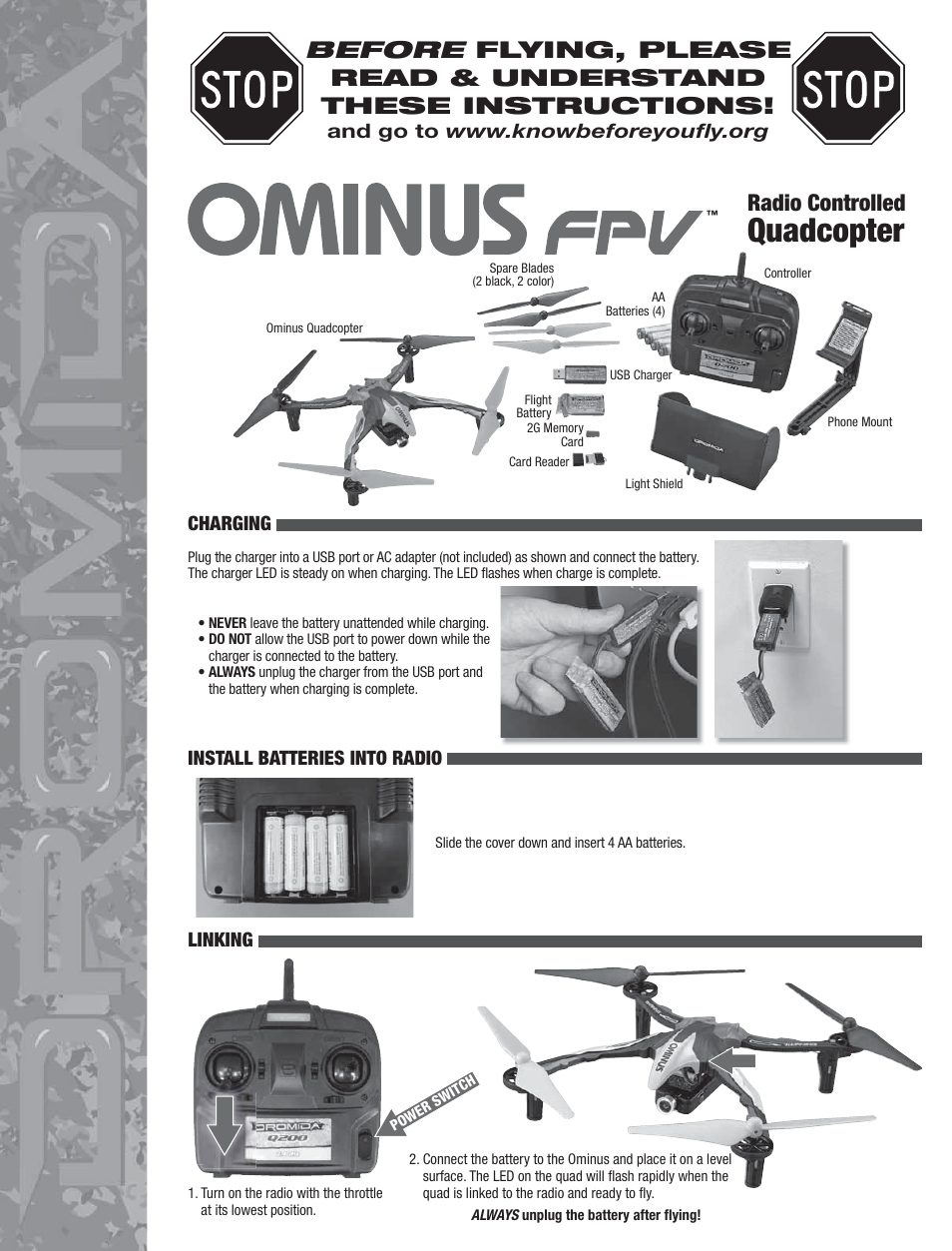Ominus quadcopter troubleshooting