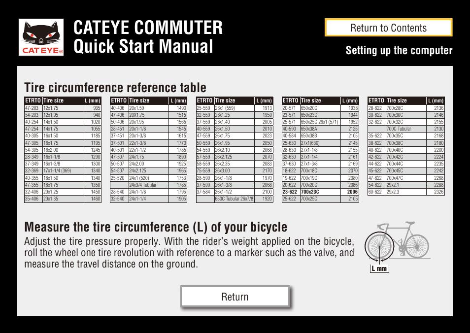 cateye commuter quick start manual measure the tire circumference rh manualsdir com