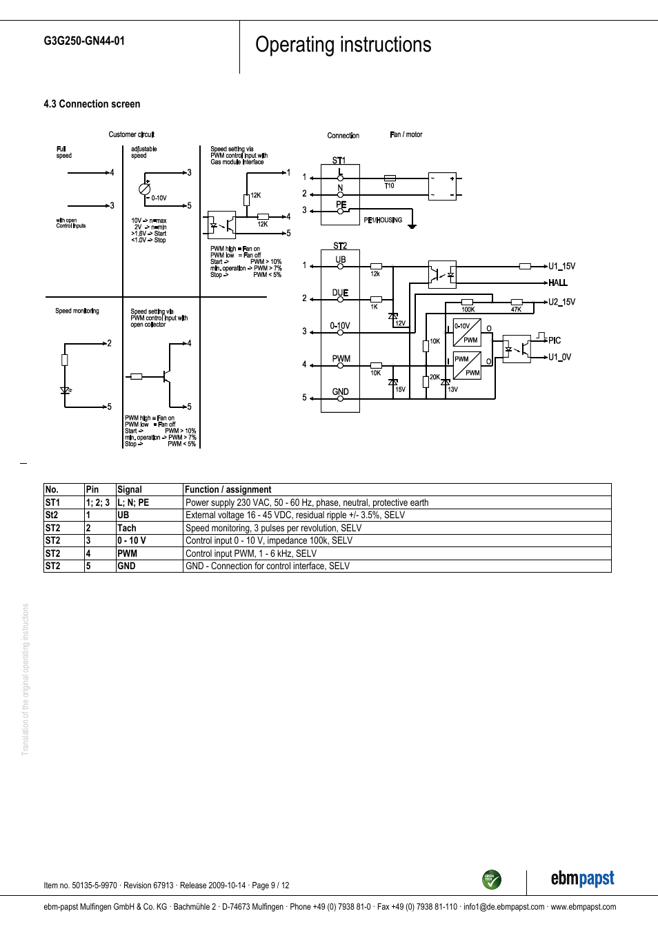 Operating instructions | ebm-papst G3G250-GN44-01 User Manual | Page 9 / 12