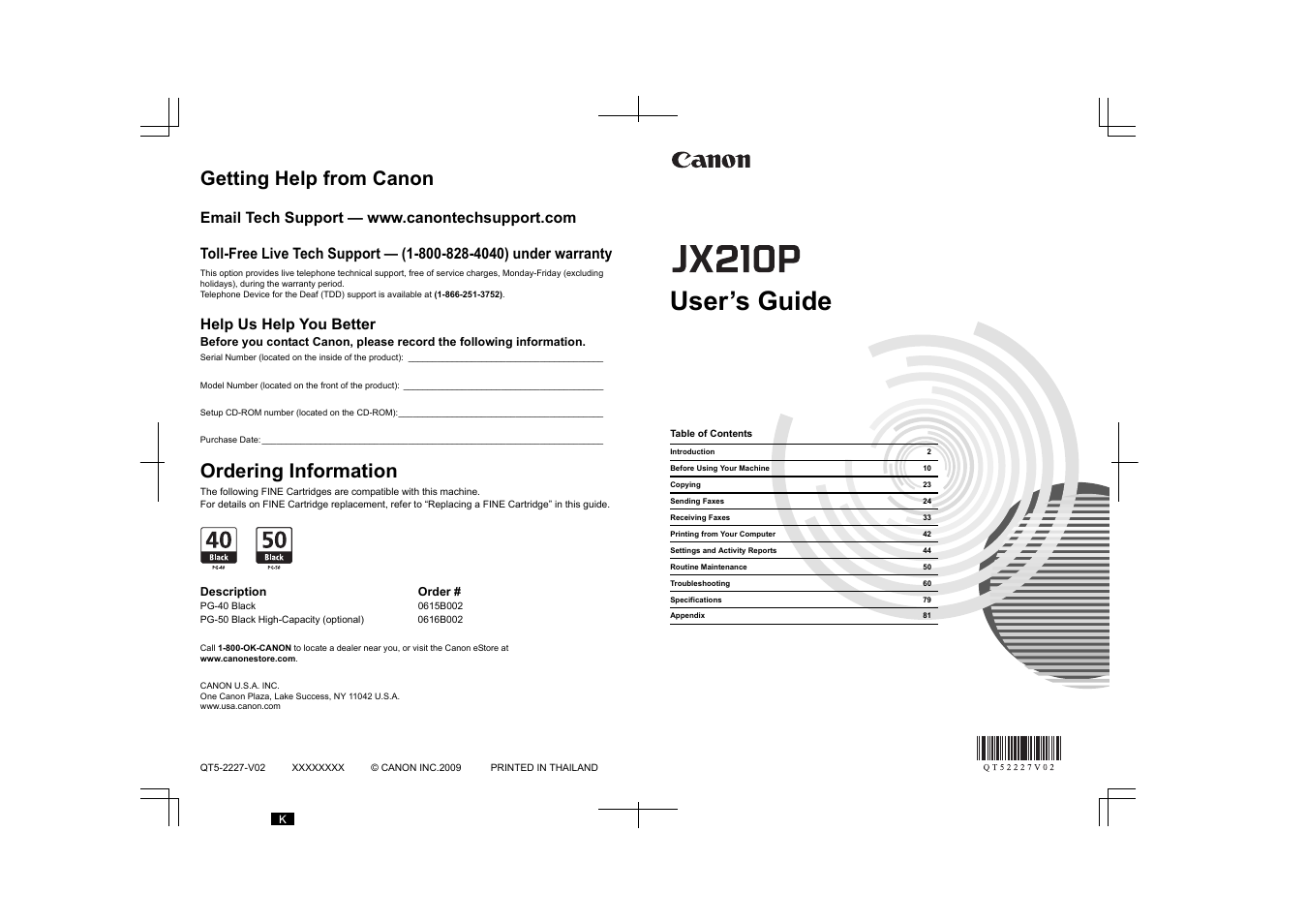 Canon FAX-JX210P User Manual | 86 pages | Also for: QT5-2227-V02, FAX-JX210,  JX210P